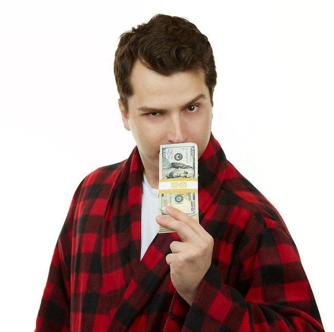 Dan in his iconic red and black plaid robe.