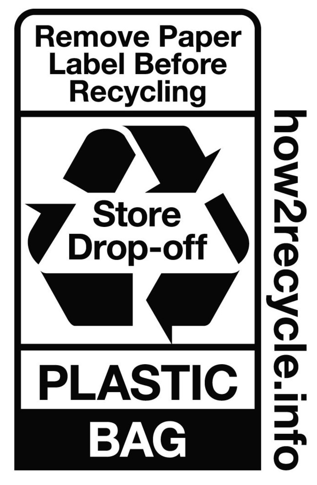 The Shields eCommerce mailer bag is labeled with the How2Recycle 'store drop-off' label, which instructs consumers and businesses to bring mailers to participating retailers for recycling. As a division of Novolex, Shields manufacturers the mailers as part of a broader corporate commitment to sustainability.