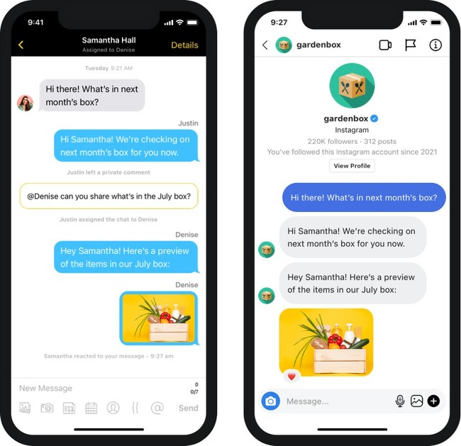 Side-by-side of text conversation on the Heymarket and Instagram apps.