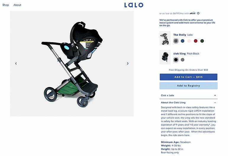 Baby product page
