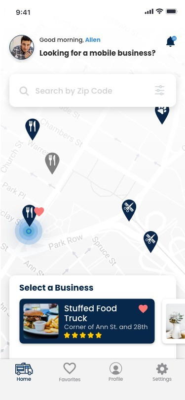From the home screen users can find local businesses near them.